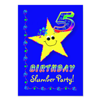 Smiley Star 10th Birthday Slumber Party Invitation