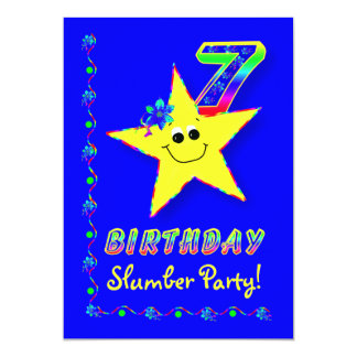 Smiley Star 7th Birthday Slumber Party Invitation