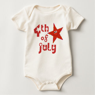 Smiley Star for 4th of July Baby Bodysuit
