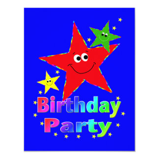 Smiley Stars Birthday Party Invitation