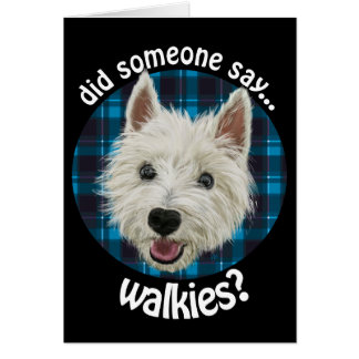 Smiley Westie. Walkies? Card