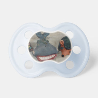 Smiley whale and hedgehog friends for pacifier
