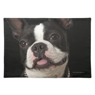 Smiling Boston terrier with collar Placemat