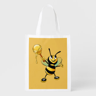Smiling Bumble Bee with a Scoop of Honey Reusable Grocery Bag