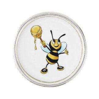 Smiling Cartoon Honey Bee Holding up Dipper Lapel Pin