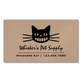 Smiling Cat with Long Whiskers Magnetic Business Card
