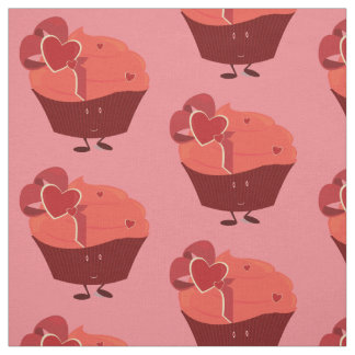 Smiling cupcake with heart decoration fabric