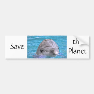 Smiling Dolphin - Save the Planet Bumper Sticker