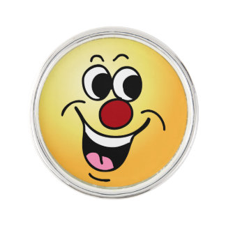 """Smiling Face: Did someone say """"Happy Hour?"""" Lapel Pin"""
