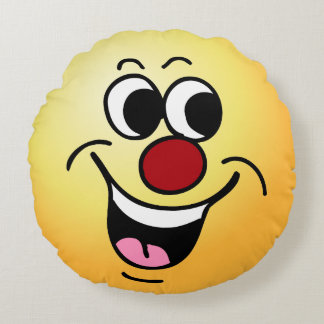 """Smiling Face: Did someone say """"Happy Hour?"""" Round Cushion"""