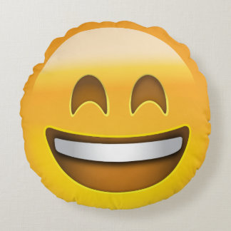 Smiling Face With Open Mouth & Smiling Eyes Emoji Round Cushion