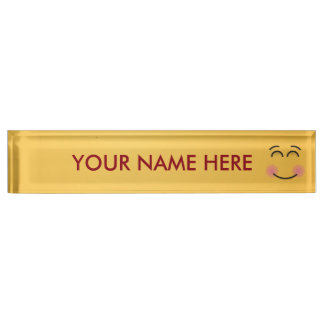 Smiling Face with Smiling Eyes Name Plate