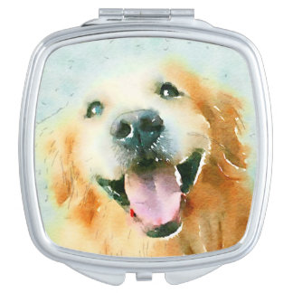 Smiling Golden Retriever in Watercolor Travel Mirror