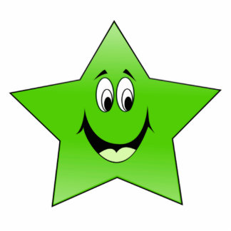 Smiling Green Star Standing Photo Sculpture