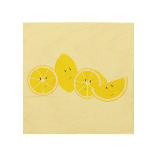 Smiling group of lemons wood wall art