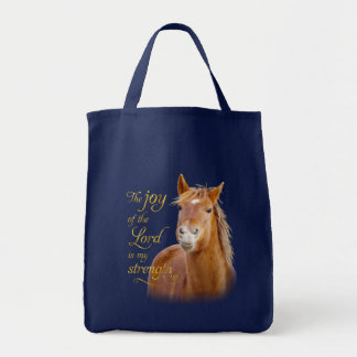 Smiling Horse Bible Verse Custom Grocery Tote Bag