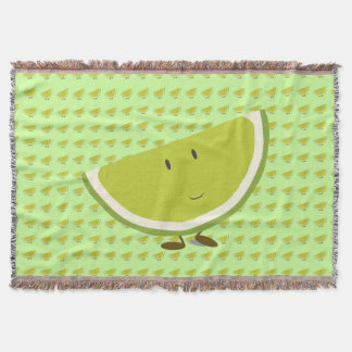 Smiling lime slice throw blanket