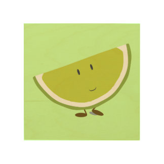 Smiling lime slice wood print