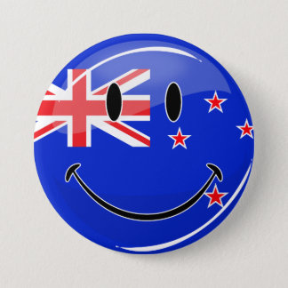Smiling New Zealand Flag 7.5 Cm Round Badge