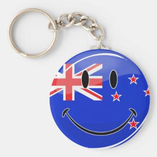 Smiling New Zealand Flag Basic Round Button Key Ring