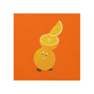 Smiling orange character with orange slices on top wood wall decor