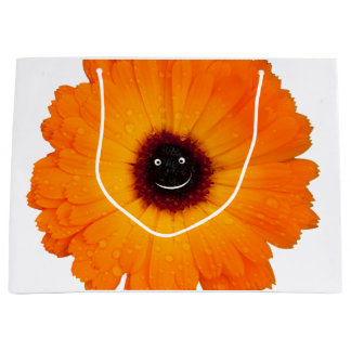 Smiling Orange Flower Large Gift Bag