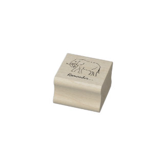 Smiling Peaceful Baby Elephant Remember Rubber Stamp