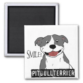Smiling Pit Bull (Blue and White) Magnet