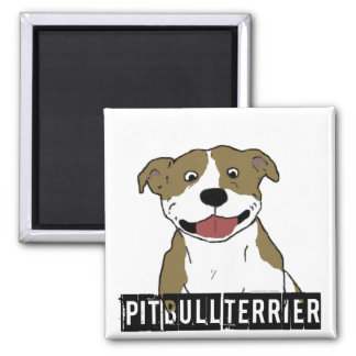 Smiling Pit Bull (Tan and White just breed name) Magnet