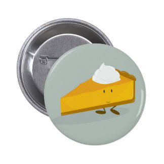 Smiling pumpkin pie slice button