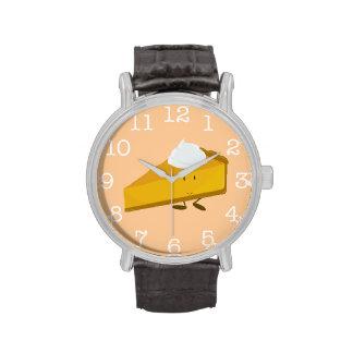 Smiling pumpkin pie slice wristwatch