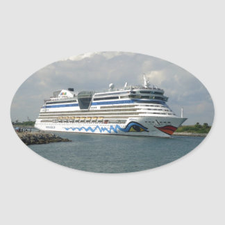 Smiling Ship Oval Sticker