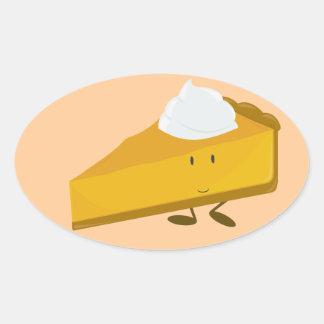 Smiling slice of pumpkin pie oval sticker