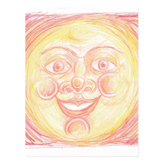 Smiling Sun Face Postcard