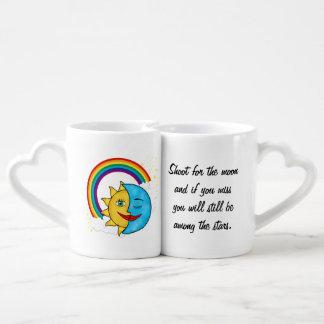 Smiling Sun Sleeping Moon Rainbow Celestial theme Coffee Mug Set