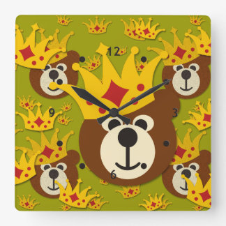 Smiling Teddy Bear with Crown Wall Clocks
