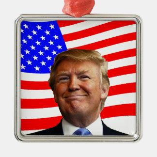 Smiling Trump Silver-Colored Square Decoration
