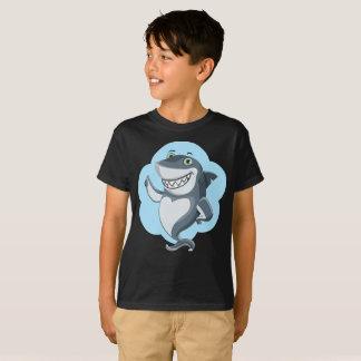 Smiling Upstanding Blue Shark Outline Kids T-Shirt