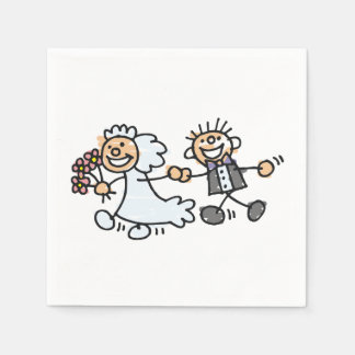 Smiling Wedding Couple Bride Groom Paper Serviettes