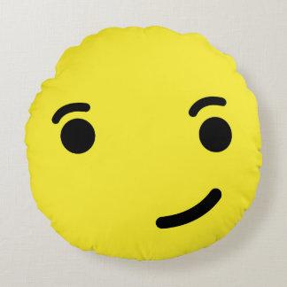 Smirk Emoji / Smiley Round Cushion