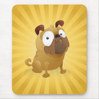 Smirking Pug - Gold Background Mouse Pad