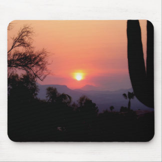 Smoke induced sunset mouse pad