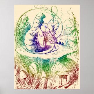 Smoking Caterpillar Alice in Wonderland Poster