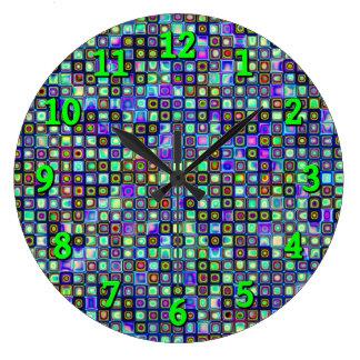 Smoking Green Funky Retro Mosaic Tiles Pattern Large Clock