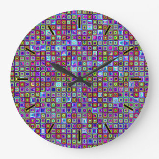 Smoking Purple Funky Retro Mosaic Tiles Pattern Large Clock