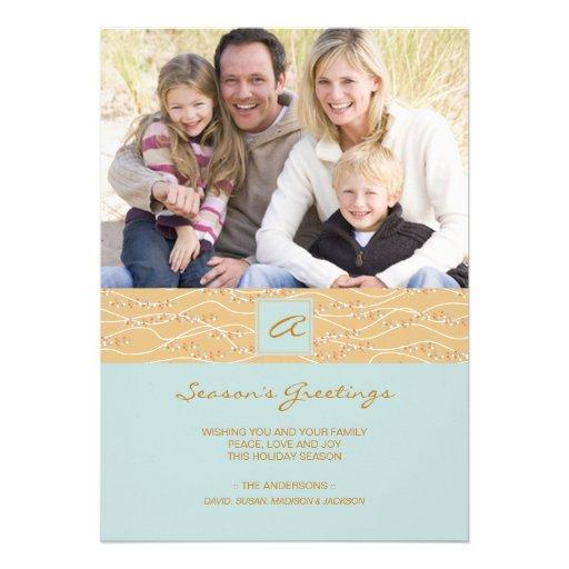 Smoky Blue Contemporary Holiday Card Custom Invitation