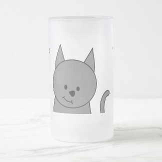 Smoky grey cat cartoon frosted glass mug