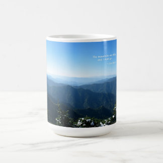 Smoky Mtns w/snow: Mtns are calling...John Muir Basic White Mug
