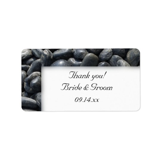 Smooth Black Pebbles Wedding Thank You Favour Tags
