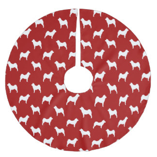 Smooth Chow Chow Silhouettes Pattern Red Brushed Polyester Tree Skirt